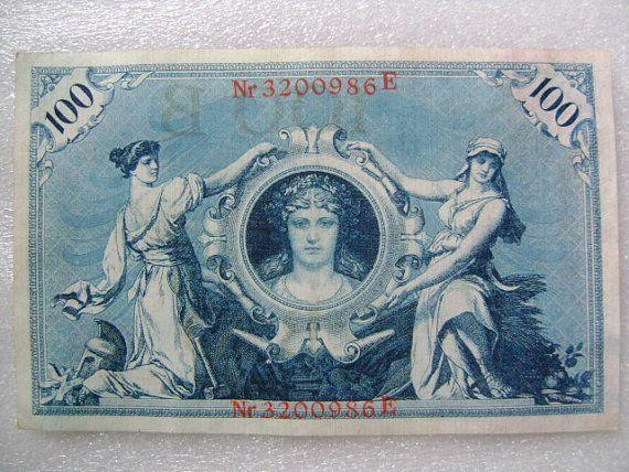 1908 Vintage Banknote German 100 Marks Old Money Digital
