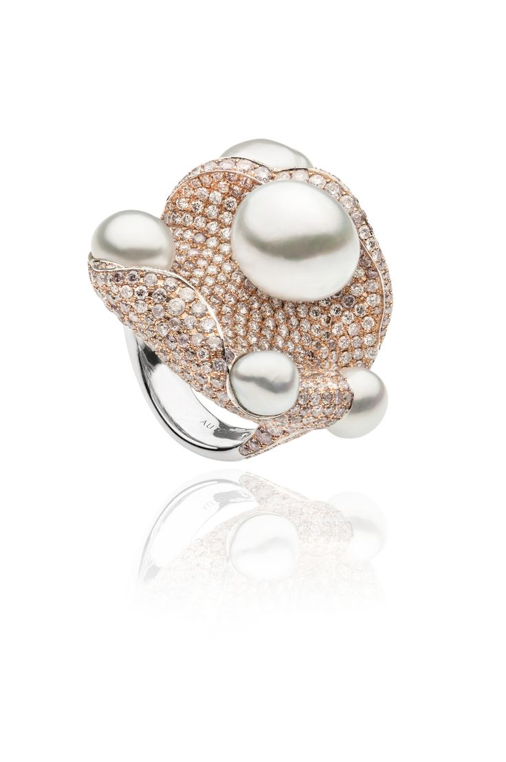 AUTORE Coral Ring  18k White Gold with Pink Diamonds and White Keshi South Sea pearls  JR14090002