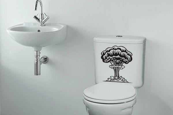 Adesivo de Parede Bomba Atômica Para Decoração do Banheiro