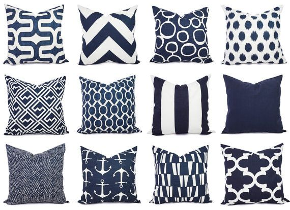 Pick two navy pillow covers in popular prints! These blue cushion covers fit a 16 x 16 pillow insert and are 100% cotton. These navy blue throw