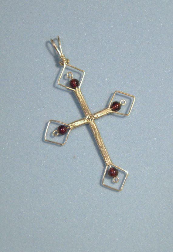 Sterling Silver Wire Wrap Garnet Gemstone Σταυρού κρεμαστό κόσμημα-Χειροποίητα Κοσμήματα