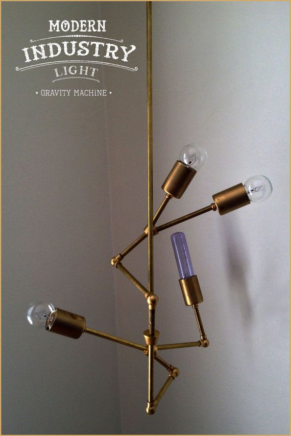 """Modern brass """"Gravity Machine"""" chandelier perfect for entryway - 4 Bulb - Number 1 MADE IN LA With Love"""