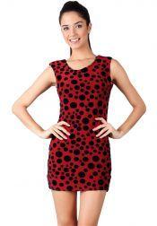 Something Borrowed Petite  Something Borrowed Petite Velvet Polkadot Dresses Red Navy