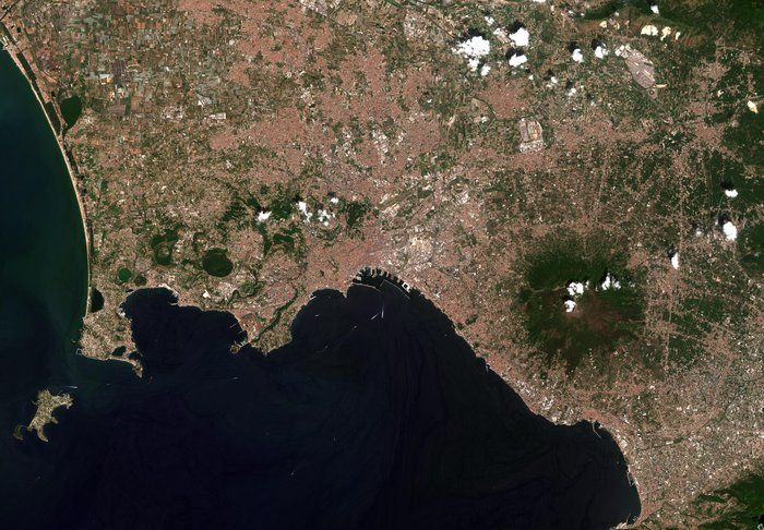 This image of the Bay of Naples, Italy, captured by the Copernicus  Sentinel-2B is one of the first set of images delivered via Alphasat,  which is in geostationary orbit 36 000 km above Earth.