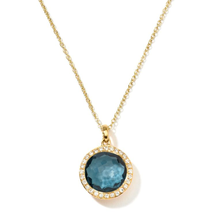Ippolita | Mini Lollipop In London Blue Topaz with Diamonds - Gold Necklaces