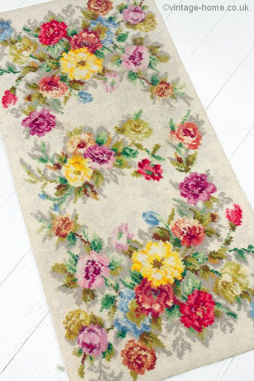Vintage Home 1940s Hearthside Roses And Carnations Rug Www