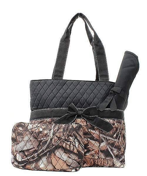 Camouflage Print Monogrammed Diaper Bag Black Trim