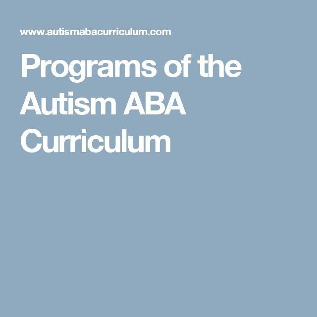 Programs of the Autism ABA Curriculum