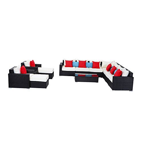 outsunny outdoor rattan wicker sectional sofa furniture set for sale
