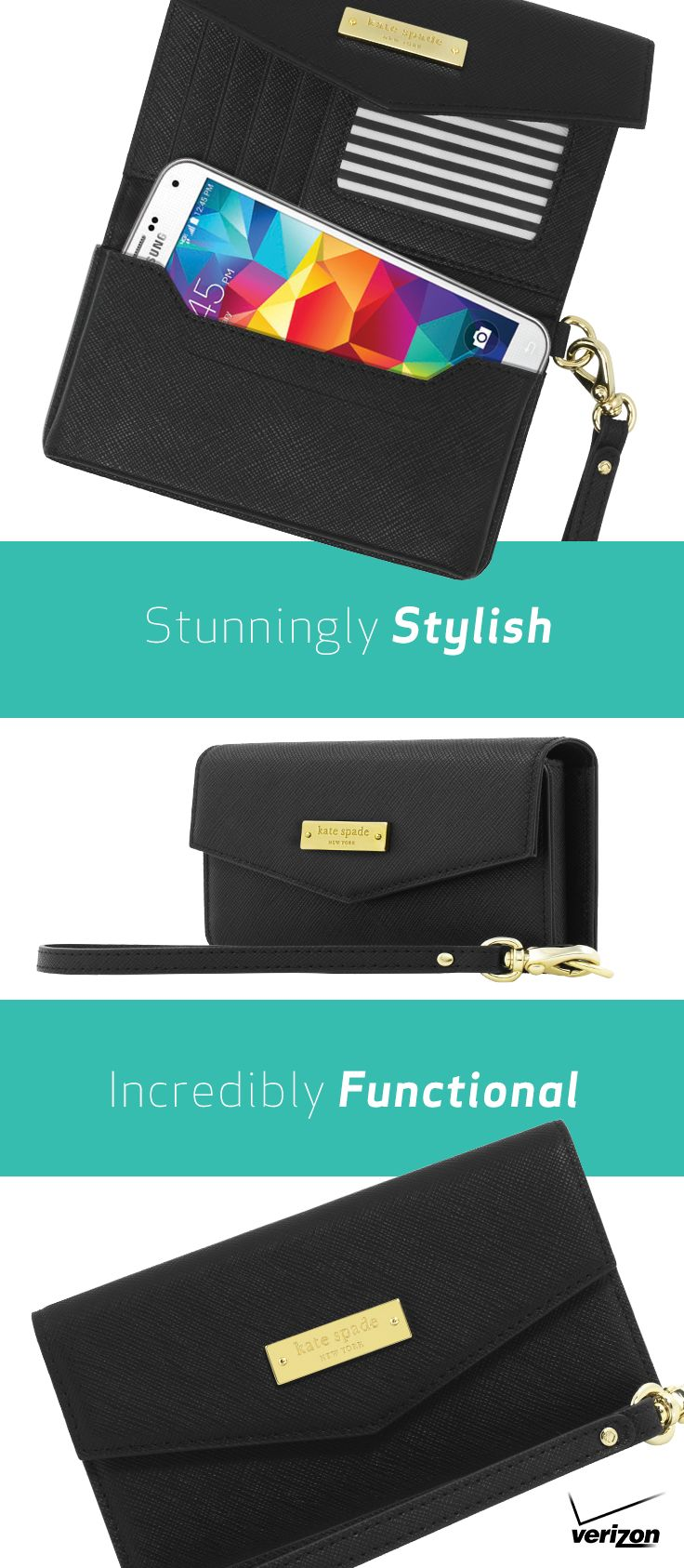 Let your smartphone ride in style and comfort with the large kate spade new york Saffiano Wristlet. This fashion-forward accessory is so much more than just a clutch or phone case. Designed with premium Saffiano vegan leather and gold details, this wristlet has dedicated spaces for your device, credit cards, cash and IDs, too! Fits any device up to 5.7 inches, and goes anywhere you do.