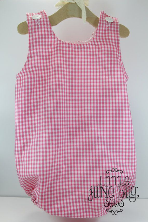 gingham baby bubble romper  unisex embroidery blank  gingham baby bubble blank