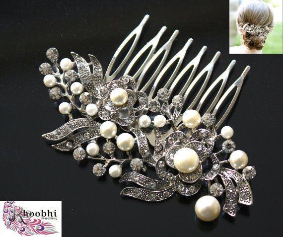 Elegante Vintage-Stil Blume Kristall Diamante Juwel & Pearl Haar Kamm Folie Clip Fascinator Braut Brautjungfern * Parteien * Proms * Abend