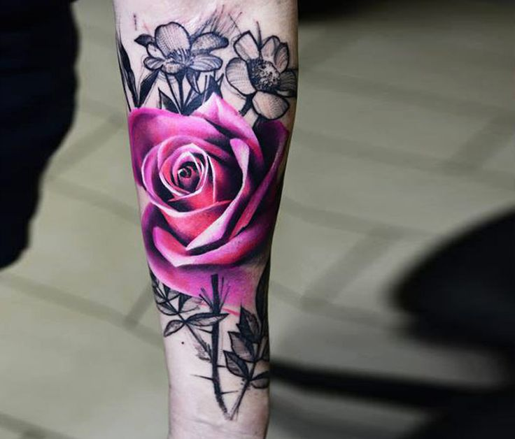 Pink rose tattoo by Timur Lysenko