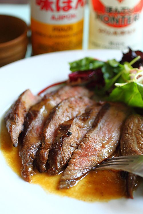Flank Steak with Mizkan Ponzu and Miso Butter recipe - this beef has supreme tenderness, sublime flavor, and marbled texture. #beef #japanese #grill