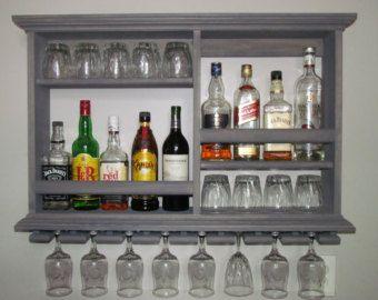 Mini-Bar resistido gris estante del vino gabinete por DogWoodShop