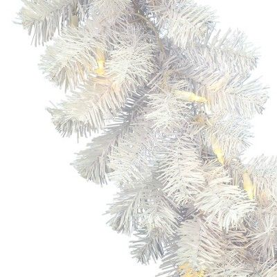 Vickerman 9' Crystal White Spruce Artificial Christmas Garland with 50 Warm White Spruce Led Lights