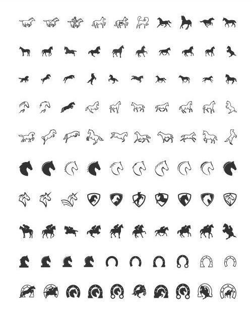 100 iconos de caballos