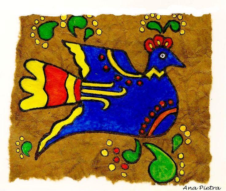 Arte Otomi Trabajo inspirado en el arte de pueblos prehispánicos en Mesoamerica. Eran realizados sobre papel amate (fibra vegetal machacada y prensada) , sus dibujos , de gran colorido y sus motivos , primitivos, describian seres de la naturaleza y escenas locales.