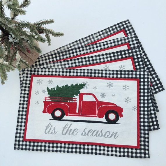 Vintage Red Truck Christmas Placemats.Vintage Red Pick Up Truck Placemats Black White Gingham