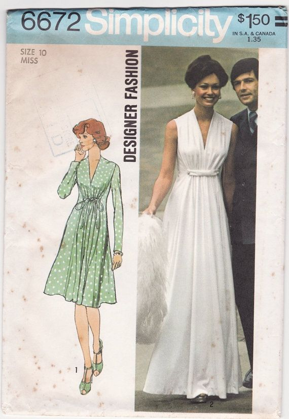 Vintage 1970s Sewing Pattern - Sleeveless Grecian Evening Gown, Gathered Bust Princess Seam Dress - 1974 - I want to figure out how to make this!