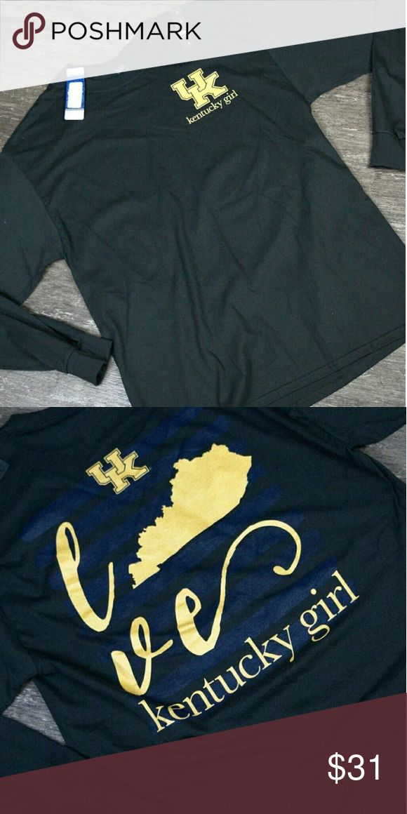 UK Wildcats KY Girl Long Sleeved Tee Plus 2XL XXL H43 University of Kentucky CATS Long Sleeve T Shirt UK Wildcats Navy Gold Tee 2XL State / Kentucky Girl / Front and Back Graphics / Love Tops Tees - Long Sleeve