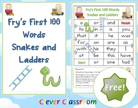 FREE Fry's First 100 Words Snakes and Ladders Games x 6 - PDF file 6 ...