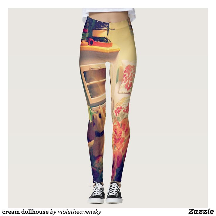 cream dollhouse leggings - Printed #Yoga #Leggings & Running Tights Creative Workout and #Gym #Fashion Designs From International Artists - #pilates #exercise #crossfit #workout #tights #running #sports #design #fashiondesign #designer #fashiondesigner #style #pants