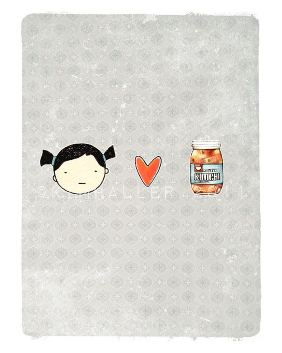 i heart kimchi (girl) / kilsookKimchi Prints, Kilsook, Girls Generation, Heart Kimchi, Boys, Typography Prints