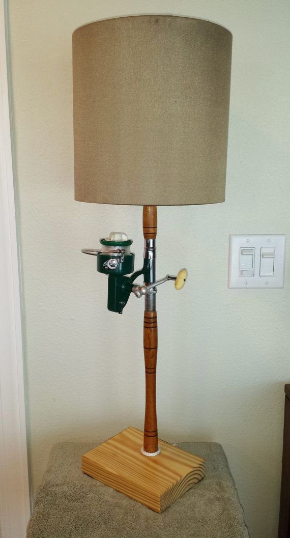 FISHING POLE LAMP Antique Fishing Rod and by SaultydogCreations