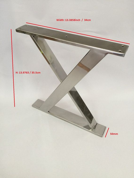 Polished Stainless Steel X Frame legs. Height : 13,9763inch / 355mm  Width : 13,3858 / 340mm  Stainless steel square tube : 10 / 50mm  Please let me know if you need custom sizes.  There are 5 holes on the top to connect base to furniture with bolts.   This glossy finish X frame legs would look great on your next bench, side table, ottoman project.  The price is Usd 200 for set of 2.  Shipping is plus  Thank you