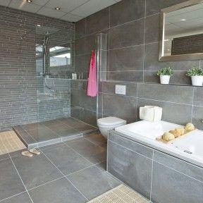 mooie glasplaat en grijze kleur tegels. Bij ons op de vloer kunnen alleen niet zulke grote (althans, niet in het douchegedeelte).
