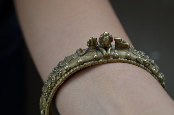Antique Indian shiva bangle Hindu yoga goddess god by Faerymother