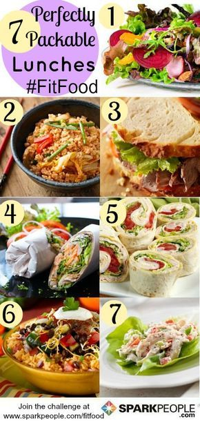 7 Smart Lunches You Can Pack for Work (Click for a shopping list too!) | via @SparkPeople #food #recipe #FitFood #meal #plan
