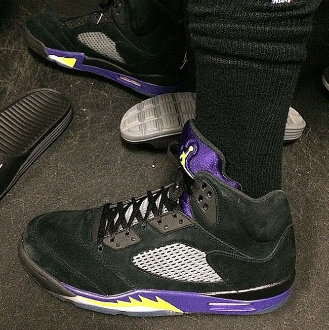 Nick Young Wearing His Air Jordan 5 L.A Lakers Sneakers