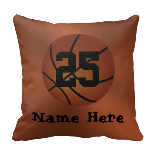 """Personalized Basketball Pillows with YOUR  NAME and Jersey NUMBER.  Just type them into the Three Text Box Template beneath the """"Personalize it"""" area.  Basketball Stuff with many being Customizable with YOUR NAME and or NUMBER.  Lots more Custom and Personalized Basketball Gifts for Girls, Guys, Coaches  CLICK HERE: http://www.zazzle.com/littlelindapinda/gifts?cg=196808750908670951&rf=238147997806552929*/   ALL of Little Linda Pinda Designs CLICK HERE…"""