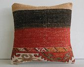 "16""sham kilim pillow case embroidered throw cushion cover southwestern turkish pillowcase ethnic pillow boho pillow cover red black striped"