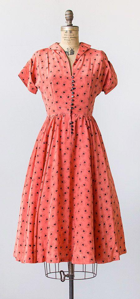 vintage 1950s coral red bird cage print silk dress | Adored Vintage #vintagedress #1950s #50sdress #silk