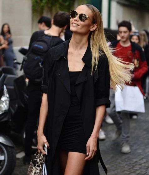 Street Style: Natasha Poly after Balmain Menswear Paris Fashion Week