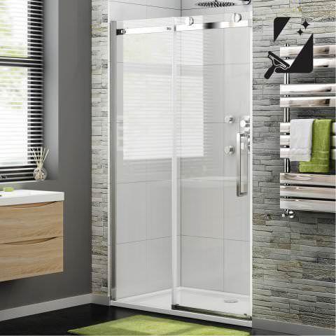 1100mm Designer Frameless EasyClean Sliding Shower Door 8mm - soak.com