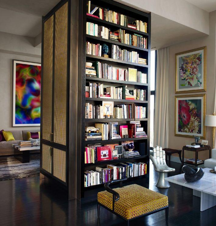 bookshelves in the center of room.