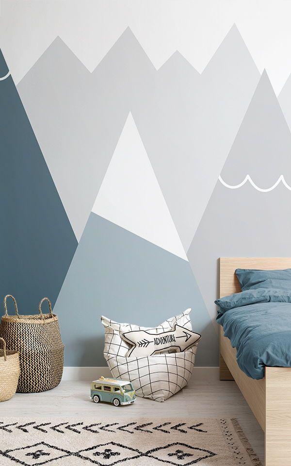 Kids Blue Gray Cartoon Mountain Wallpaper Boys Bedroom