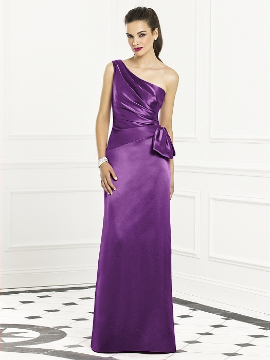 purple asymmetrical bridesmaid dress.