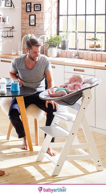 Hauck Alpha Plus Weiß – Newborn Set – Hochstuhl + Neugeboreneneinsatz & Wippe – Carolyn Wessel
