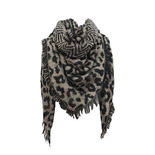 0169db336d2 Foulard Echarpes et foulards Echarpe triangle femme imprimé léopard Écharpe  chaude châle by LHWY (café)