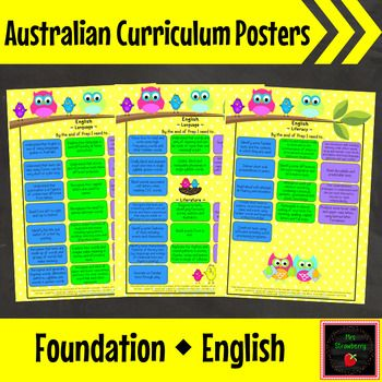 Foundation Australian Curriculum English Posters - These bright and colourful posters are excellent for sending home to parents so they know what their child needs to achieve. Also place on your wall for students to access and use as a great planning tool to ensure you have taught all content. Includes 5 versions - Pre-Primary, Prep, Reception, Transition and Kindergarten (for NSW and ACT) so you can select the correct one for your state.