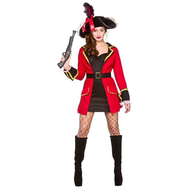Adult BLACKHEART PIRATE Lady Fancy Dress Caribbean Buccaneer UK Sizes 6-24 #Wicked #CompleteOutfit
