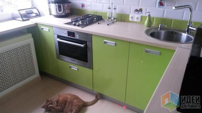 Мебель для кухни, нижние шкафы на кухню, зеленая кухня фото