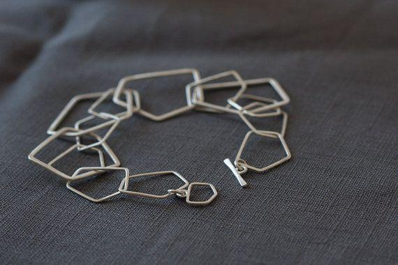 handgefertigtes Geometrisches Armband aus Silber