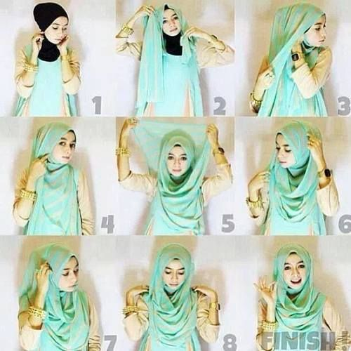 This is a cute chest coverage hijab tutorial you can create easily in a stylish way, and in few minutes. For this hijab look you will be needing an underscarf, a maxi hijab and some pins. Here are the steps…