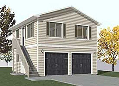Garage plans two car two story garage with apartment for Double story garage